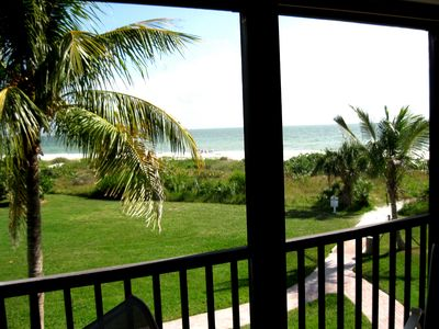 Sweeping views of the beach and Gulf from our lanai.