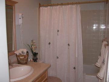 Soak in a tub in the second bath off bedroom. Mounted hair dryer and toiletries