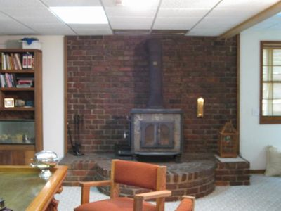 Lower Level Wood burning soap stove and bar area