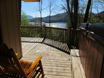 Enjoy this view either in the hot tub or rocking chair! Fantastic view!