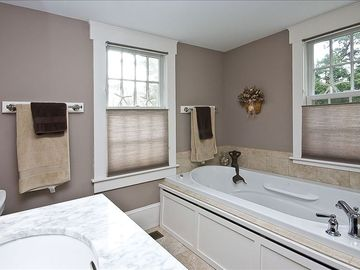 5-piece Master bathroom with jet tub and seperate shower, two sinks.
