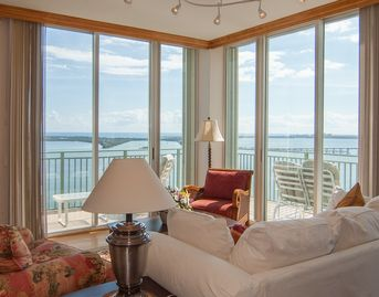 Brickell apartment rental - Living Room with amazing Ocean and City views, including wrap around balcony