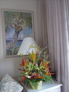 Fresh tropical flower arrangement waiting for you.