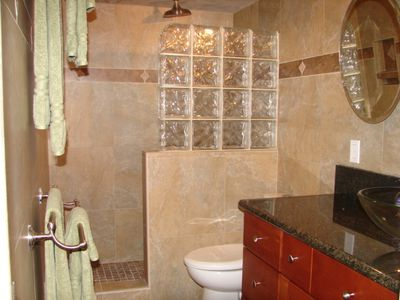 Bathroom with rain shower head.