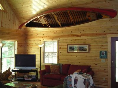 Beaver Lake cabin rental - Old Town wooden canoe