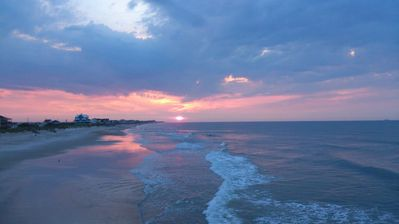 Sunrises on North Topsail & sets down at Surf City on the other end of island.