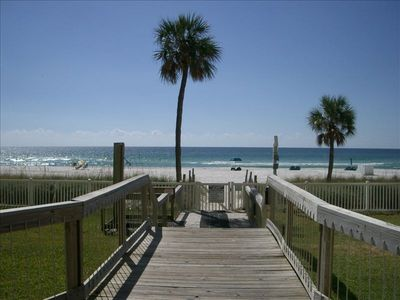 Boardwalk leading to beach from Tower I lobby.