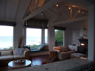 Bodega Bay cottage photo - View of living room, ocean, and, fireplace from kitchen