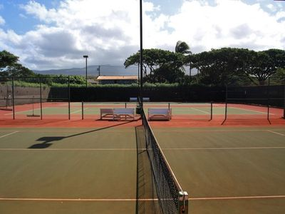 Three lighted tennis courts on site (free) Racquets in Condo
