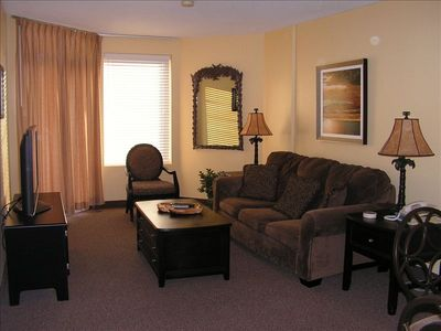 "Living Area with new furniture, 42"" Flat Screen TV, Cable & Wireless Internet"