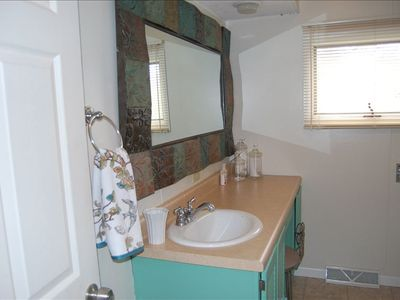 Master bathroom with full shower and tub.