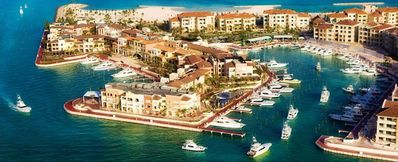 Aerial view of the Marina at Capcana where this beautiful 5100sf condo is found