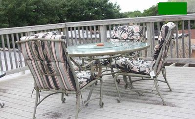 The comfortable patio furniture on our deck