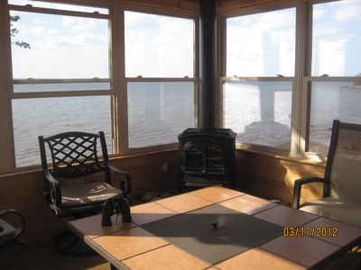 Big Bay house rental - Four seaon room with fireplace and unbelievable view.