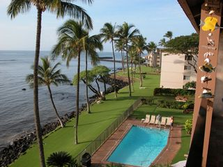 Maalaea condo photo - Pool and ocean view from our lanai.