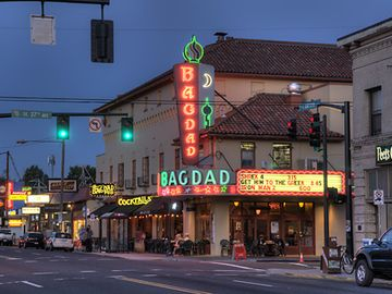 Bagdad Theater, where you can watch a movie, eat a slice and drink a brew.