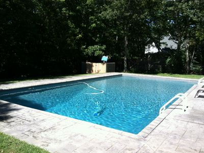 Sun drenched new pool, fully fenced private property.