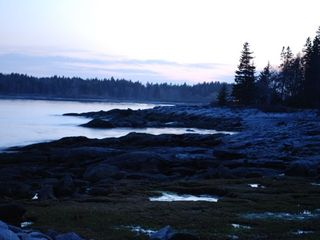 Clark Island cottage photo - View from the rocks at dusk