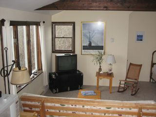 Rockport studio photo - sitting area with double futon, cable tv and air conditioning