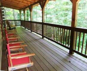 Maggie Valley cabin photo - Beautiful view of the large creek from the covered deck.