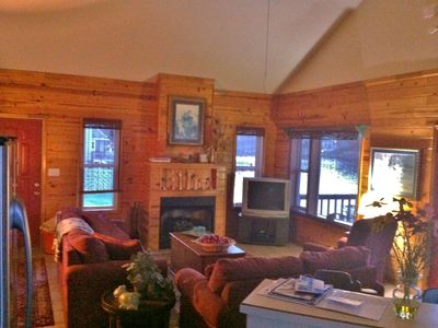 Knotty Pine Walls, Fireplace, Cathedral Ceilings