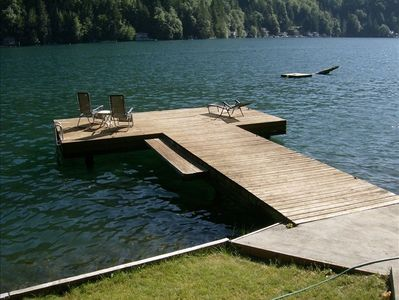 Beautiful wooden dock for lounging, fishing or boat tie up.