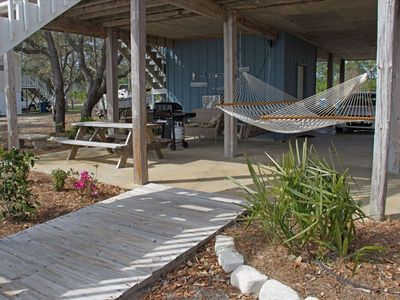 Relax in the hammock or two swings, grill your dinner, have a picnic!