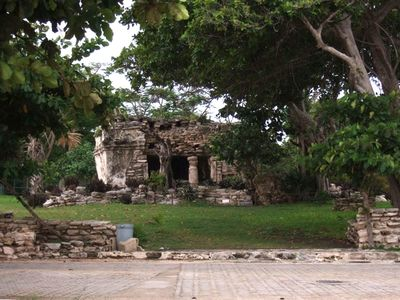 A short walk to town, past ancient Mayan Ruins.  A very Safe, Gated community!