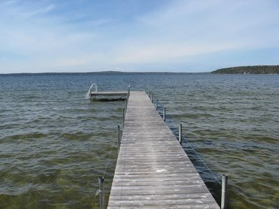 Mullett Lake cottage rental - Private dock and boat mooring