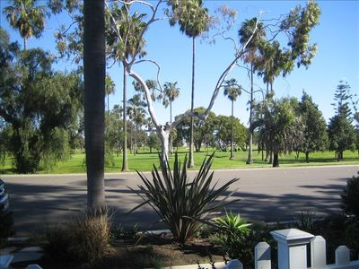 View of golf course and Coronado Bridge from front patio