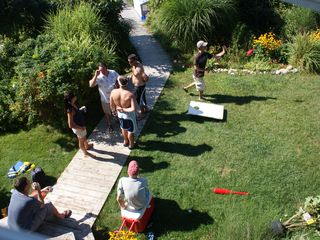 bean bag toss with beer - Narragansett estate vacation rental photo