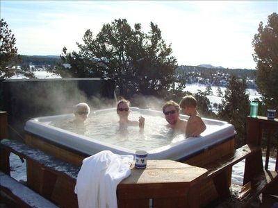 Four generations in the hot tub (in winter)... Great anytime !