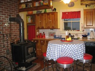 Ellsworth house photo - Cozy Kitchen with Wood Stove