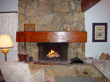 Green Valley Lake cabin rental - Large Stone Fireplace