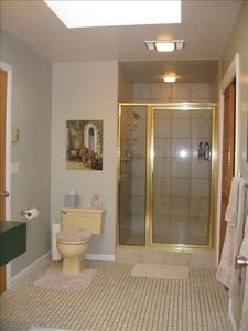 Master Bathroom with walk-in shower, double sinks and skylight