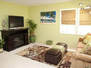 Seal Beach apartment photo - Living Room with electric Fireplace, 42' Flat Screen HDTV and blue-ray player.