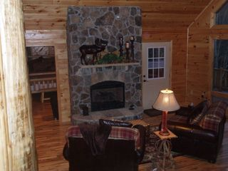 Lake Nantahala lodge photo - View of Fireplace in great room