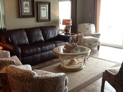 New living room furniture with leather sleeper and comfortable recliner