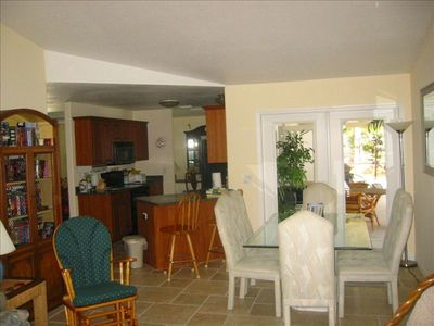 North Port house rental - Great room (family room and eating area) overlooking kitchen