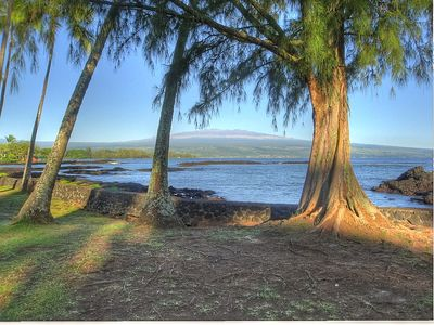 Swim and surf at Richardson's Beach Park with view of Mauna Kea over Hilo