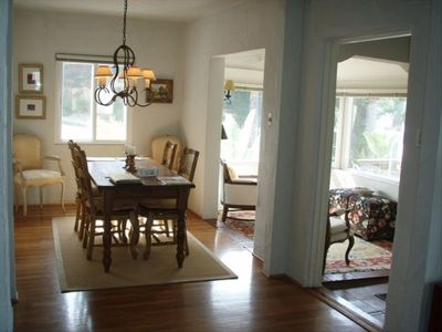 View from living room to dining room and reading room.