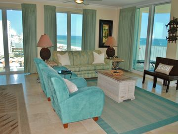 Gulf Shores condo rental - Living Room Spectacular Views fr 2 Walls of Windows