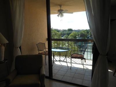 Delray Beach condo rental - Open balcony with fan and lights, western exposure great view