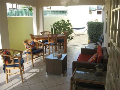 Dine al fresco or relax on the back lanai