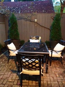 Toronto house rental - Backyard patio, table, seating for six, French doors from kitchen, very private