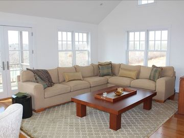 Spacious upper Family Room with sweeping views of ocean.
