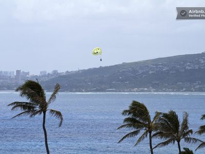 Fantastic view of parasailing and kite surfing from your own private deck!