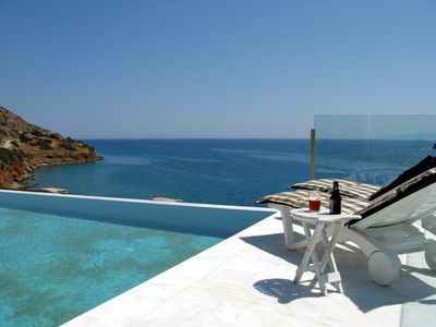 Plaka villa rental - View from the Pool (shielded)