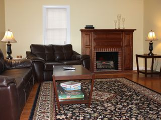 Harpers Ferry house photo - Sitting room with big screen HD TV, pull out sofa and electric fire logs