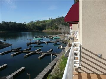 Balcony view from master bedroom. Overlooking Drifter's Marina and boat slips.